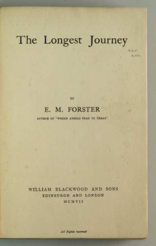 E.M. Forster: The Longest Journey, 1907 – from the library of Stephen Keynes. £149.50