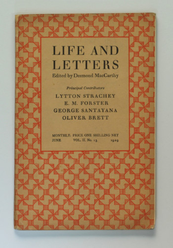 Life and Letters, incl. E.M. Forster on 'T.S. Eliot and His Difficulties', 1929. £17.50