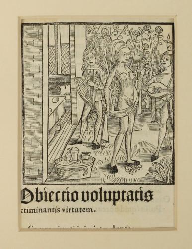 'Objectio voluptatis criminantis virtutem' – woodcut from Sebastian Brant's Narrenschiff, 1497. £295