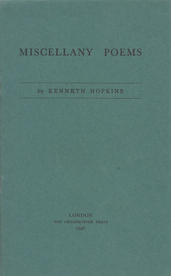 Kenneth Hopkins: Miscellany Poems, 1946 – inscribed. £12.50