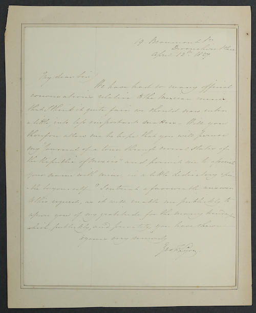 George Lyon: Autograph Letter Signed to John Taylor, 1827. £850