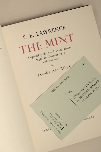 T.E. Lawrence: The Mint, 1955 – 1st British ed. from the library of Jeremy Wilson. £300